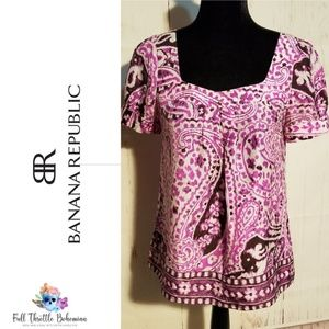 Banana Republic Cap Sleeve Purple Silk Blouse S